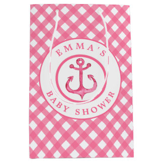 Baby Shower Nautical Pink Anchor Plaid Gift Bag
