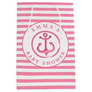 Baby Shower Nautical Pink Anchor Striped Gift Bag