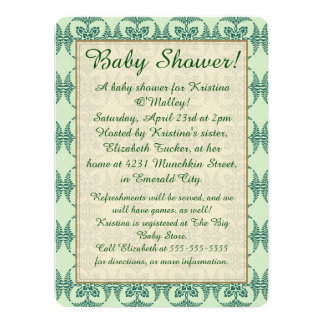 Baby Shower on Green Floral Card