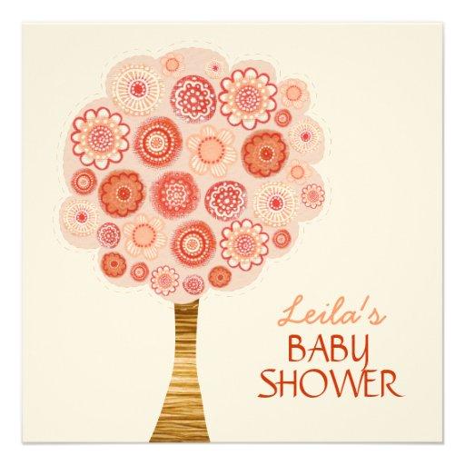 Baby Shower Orange Blossom Tree Custom Invitation