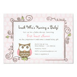 Baby Shower Owl Invite 13 Cm X 18 Cm Invitation Card