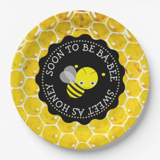 Baby Shower Paper Plates with Honey Bee Theme