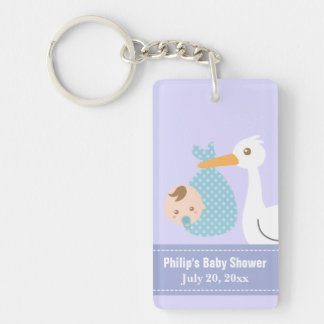 Baby Shower Party Favor - Stork Delivers Baby Boy Single-Sided Rectangular Acrylic Key Ring