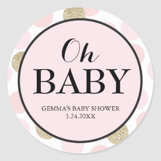 Baby Shower Party Favour Sticker - Polka Dots