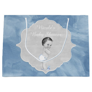 Baby Shower Pastel Blue Vintage Little Boy Large Gift Bag
