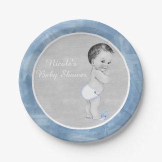 Baby Shower Pastel Blue Vintage Little Boy Paper Plate