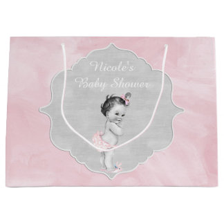 Baby Shower Pastel Pink Vintage Little Girl Large Gift Bag