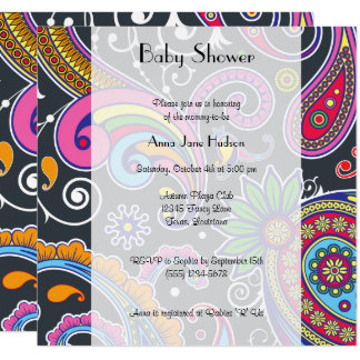 Baby Shower - Persian Paisley - Green Pink Blue Card
