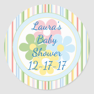 """Baby Shower """"Picnic Stripes/Floral 1 1/2"""" or 3"""" Classic Round Sticker"""