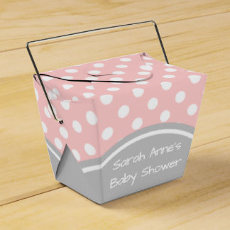 Baby Shower Pink and Grey Polka Dot Favour Box