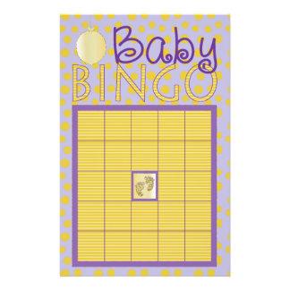 "Baby Shower Pink BINGO ""Dots,Stripes/Purple, Gold"" Flyer"