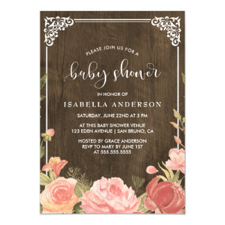 Baby Shower | Pink Floral Bouquet on Rustic Wood Magnetic Invitations