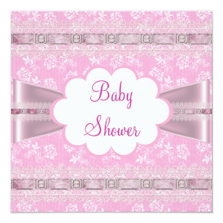 Baby Shower Pink Floral Lace Ribbon Damask Invitations