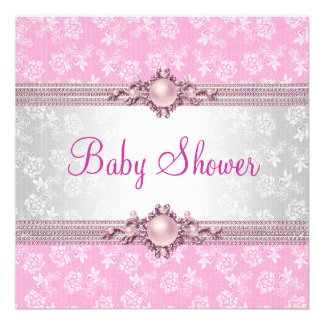Baby Shower Pink Floral Pearl Damask Personalized Invite