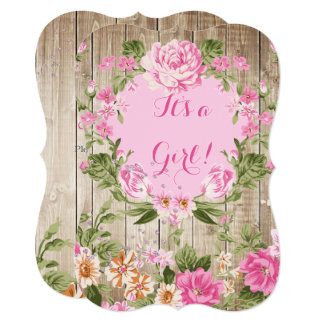 Baby Shower Pink Floral Rustic Wood Girl Card