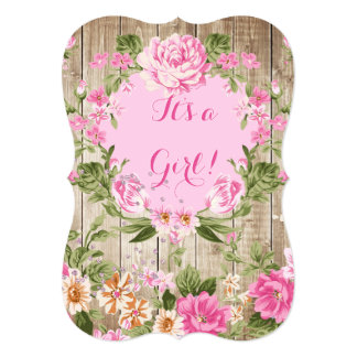 Baby Shower Pink Floral Rustic Wood Girl 13 Cm X 18 Cm Invitation Card