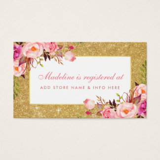 Baby Shower Pink Gold Glitter Registry Insert