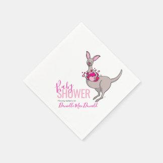 Baby shower pink heart kangaroo paper napkins disposable serviette