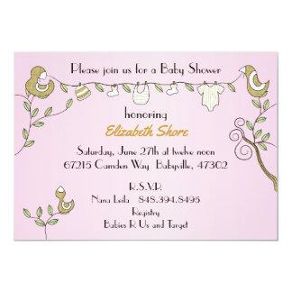 "Baby Shower Pink Invitation ""Gold Birds"""