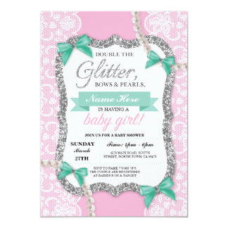 Baby Shower Pink Lace Glitter Bow Girl Mom Invite