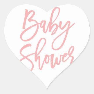Baby Shower Pink Lettering Heart Sticker
