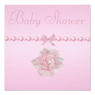 "Baby Shower Pink Rose, Shoes, & Jewel Pacifier 5.25"" Square Invitation Card"
