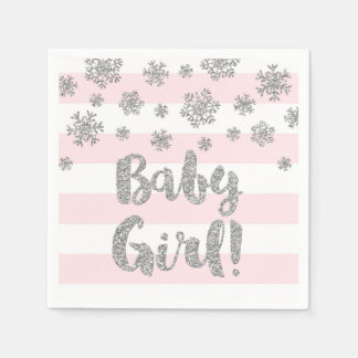 Baby Shower Pink Stripes Silver Snowflakes Disposable Napkins