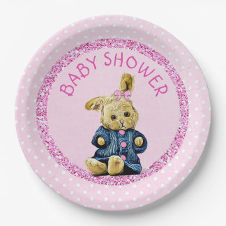 Baby Shower Pink Vintage Bunny Rabbit Paper Plates 9 Inch Paper Plate