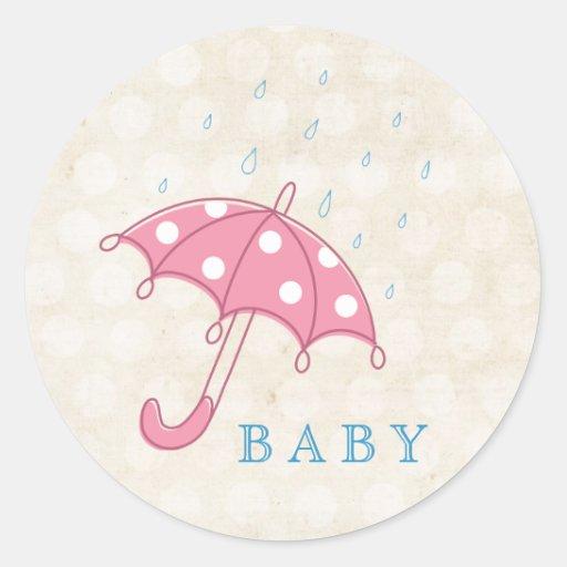 Baby Shower Pink & White Umbrella Sticker Tag.