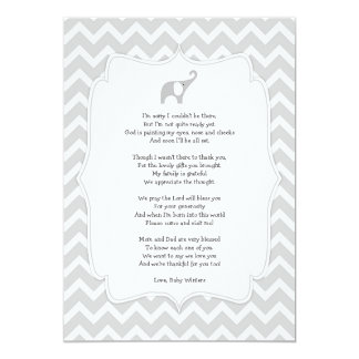 Baby shower poem thank you notes, gray elephant card
