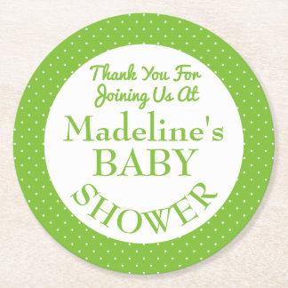Baby Shower Polka Dots Round Paper Coaster
