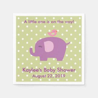 Baby Shower Purple Elephant Polka Dot Napkins Disposable Napkin