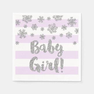 Baby Shower Purple Stripes Silver Snowflakes Disposable Serviette
