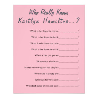 Baby Shower Question Game New Mother Humor Flyer