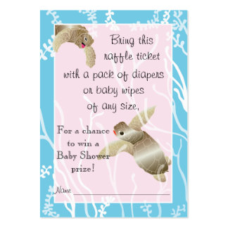 Baby Shower Raffle Ticket/Pink/Blue Turtle Pack Of Chubby Business Cards