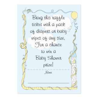 Baby Shower Raffle Ticket/Yellow/Blue Castle Pack Of Chubby Business Cards