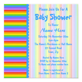 Baby Shower, Rainbow Stripes Pattern. Card