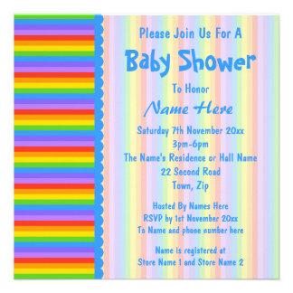 Baby Shower Rainbow Stripes Pattern Invites