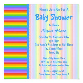 Baby Shower, Rainbow Stripes Pattern. Invites
