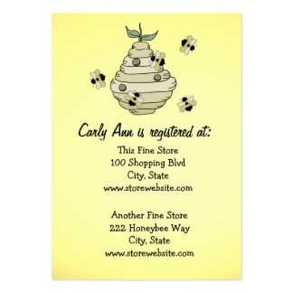 Baby Shower Registry Card Bee Theme Pack Of Chubby Business Cards