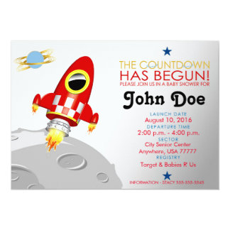 Baby Shower 'Rocket Ship' 5x7 Invitation