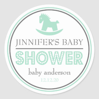 Baby Shower Rocking Horse Favor (Green / Gray) Classic Round Sticker