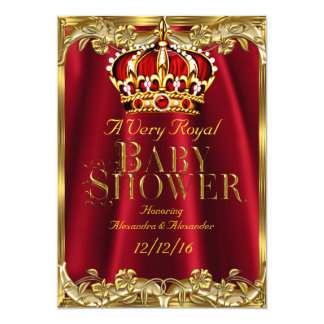Baby Shower Royal Regal Red Gold Crown 13 Cm X 18 Cm Invitation Card