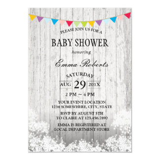 Baby Shower Rustic Baby's Breath White Wood Card