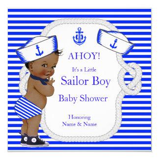 Baby Shower Sailor Boy Royal Blue Stripe Ethnic 13 Cm X 13 Cm Square Invitation Card