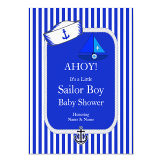 Baby Shower Sailor Hat Boy Blue Sailboat 13 Cm X 18 Cm Invitation Card