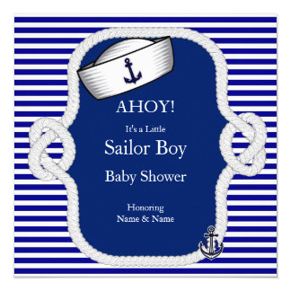 Baby Shower Sailor Hat Boy Blue Stripe 13 Cm X 13 Cm Square Invitation Card