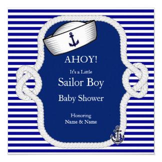Baby Shower Sailor Hat Boy Navy Blue Stripe 13 Cm X 13 Cm Square Invitation Card