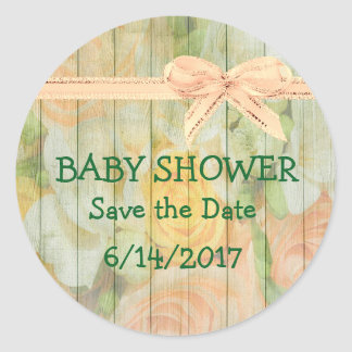 Baby Shower Save the Date Floral Stickers
