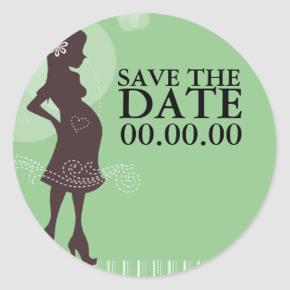 Baby Shower Save the Date Round Stickers